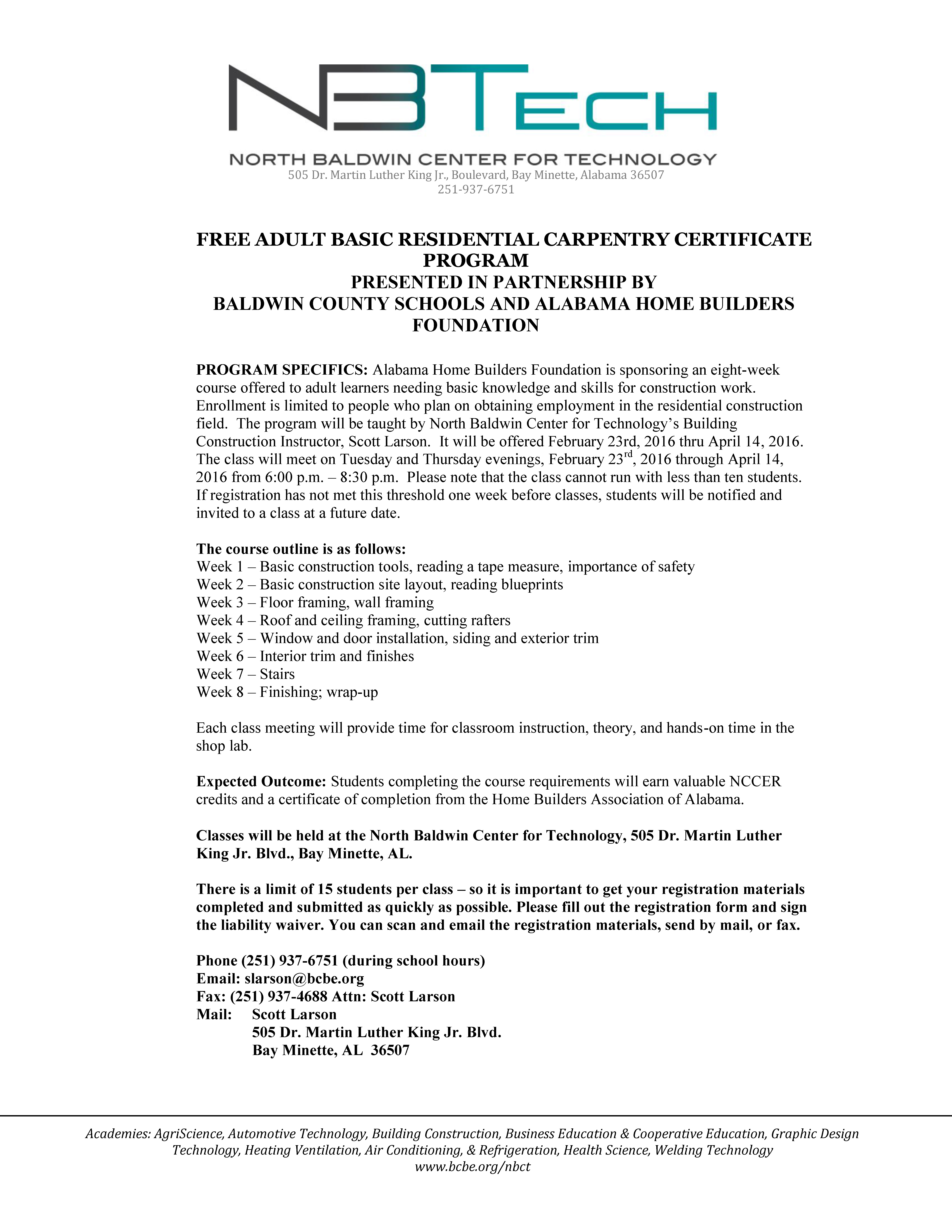 Free adult basic carpentry certificate program now available malvernweather Images